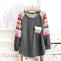 Winter Warm Tribal Pattern Rabbit Fur Pocket Sweater 3 Colors