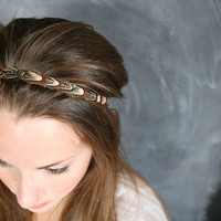 Brown Pheasant Feather Headband by confettidesignshop on Etsy