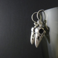 Bird Earrings Antique Silver Bird Skull Earrings