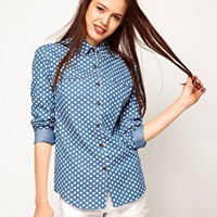 ASOS Denim Shirt in Spot Print at asos.com