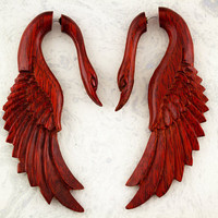 Yafah Swans  Organic Blood Wood Fake Gauges by TribalStyle on Etsy