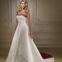 Satin with Emboridery on the bust Semi Cathedral Wedding Dress WDC022 -Shop offer 2012 wedding dresses,prom dresses,party dresses for girls on sale. #Category#