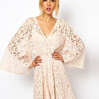 ASOS Lace Dress With Kimono Sleeve at asos.com