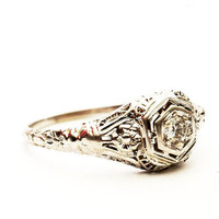 Vintage Filigree Diamond Engagement Ring White Gold, Size 7.25 (V169)