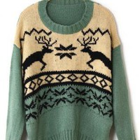 X'mas Deer Round Neck Sweater  S006651