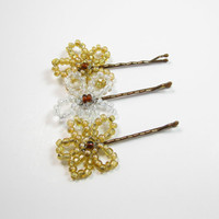 Flower Bobby Pins - Gold Beaded Bobby Pins - Kids Beaded Hair Pins