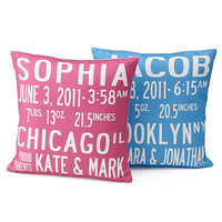 BIRTH ANNOUNCEMENT PILLOWS | UncommonGoods, Pillow, Baby, Custom. | UncommonGoods