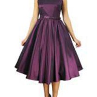 Purple Plus Size Satin Sleeveless Belted Dress