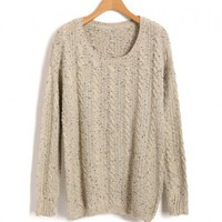 Beige Vintage Scoop Neckline Sweaters with Batwing sleeves