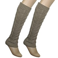 Cable Knit Trimmed Classic Boot Shaft Style Soft Acrylic Leg Warmer - Khaki
