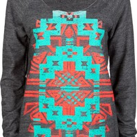 FULL TILT Ethnic Print Womens Oversized Sweatshirt