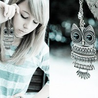 Vintage Owl Pendant Long Chain Necklace at Online Cheap Vintage Jewelry Store Gofavor