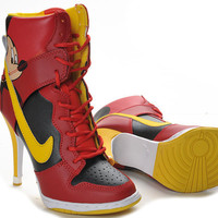2011 Latest Red Yellow Lady High Heels Nike Dunk