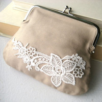 Bridesmaid Clutch - purse, lace, shabby chic, vintage, retro, neutral, tan, black, tagt team