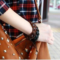 Adjustable Handmade Braid Leather Bracelet at Online Jewelry Store Gofavor