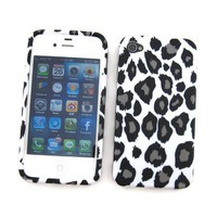 Apple iPhone 4 &amp; 4S Crystal Silicone Skin Case Snow Leopard Design