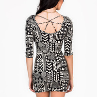 crisscross-tribal-printed-dress IVORYBLACK - GoJane.com