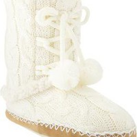 Women's Sherpa-Lined Sweater Slipper Boots | Old Navy