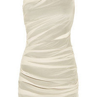 Factory by Erik Hart Ruched georgette one-shoulder dress - 45% Off Now at THE OUTNET