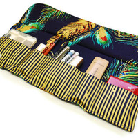 Make up bag organizer in Elegant Feather, fashion Makeup brush roll, Cosmetic pouch