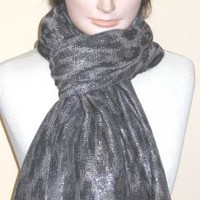 4fmg2.100, Imported Black Silver Pashmina Silk Cotton Seventy By Thirty Inches Scarf Neck Warmer Off