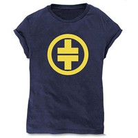 Take That Women&#x27;s 5 Logo Skinny Fit T-Shirt (Navy Blue)