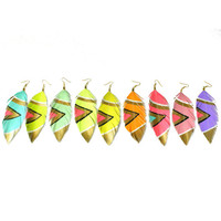 SMALL Neon Aztec - 3.5 inch Faux Leather Feather Earrings - Assorted Colors Available
