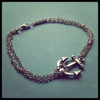 Anchor Anklet - Silver Plated, Chain, Extendible