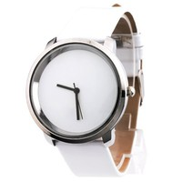 Yesurprise Fashion Women Concise Faux leather Band Quartz Wrist watch Xmas Gift White