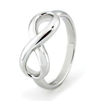 Sterling Silver Infinity Ring (Size 4.5) Available Size: 4, 4.5, 5, 5.5, 6, 6.5, 7, 7.5, 8, 8.5, 9,