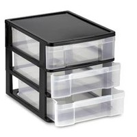 Three-Drawer Black Desktop Chest - Bed Bath & Beyond