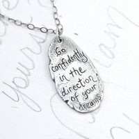 sterling silver thoreau quote necklace . artisan necklace with handwritten engraved quote . ready to ship eco friendly gift for her