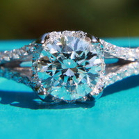 CUSTOM Made - Diamond Engagement Ring Semi Mount Setting - .50 carat  Round - Split Shank-  Halo - Pave - Antique Style - 14K white gold