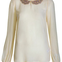 Embellished Collar Cream Top - Tops  - Apparel
