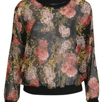 Rose Floral Print Sweater