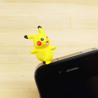 Cute 3D Happy Pikachu Pokemon Dust Plug 3.5mm Smart Phone Dust Stopper Earphone Cap Dustproof Plug Charms for iPhone 4 4S 5 HTC Samsung