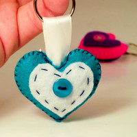 Handmade White and Teal Love Heart keyring / bag charm,