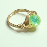 Green and Blue Crackle Wire Wrapped Ring