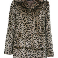 Two Tone Leopard Fur Coat - Faux Fur - Coats & Jackets  - Apparel