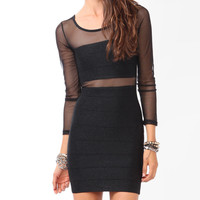Cutout Back Metallic Mesh Dress