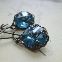 Blue Topaz Earrings Aquamarine Earrings March by debradane on Etsy