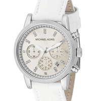 Michael Kors Watch, Women&#x27;s Chronograph Ritz White Leather Strap 37mm MK5049 - All Michael Kors Watches - Jewelry &amp; Watches - Macy&#x27;s