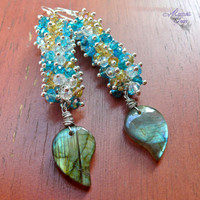 Natural Labradorite Earrings - Hawaiian jewelry with gemstone &amp; bead cluster by Mermaid Tears Hawaii