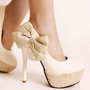 White Black Women's Bowknot Rhinestone Leather Slim High Heel Shoes US 5-US 8.5 | eBay