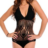 Amazon.com: LOCOMO Sexy One Piece Scrunch Bottom Style Crochet Bathing Suit BM01 BK One Size Black: Clothing