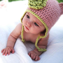 Organic Baby Hat Pink Earflap Beanie with Dusty by daisiescrochet