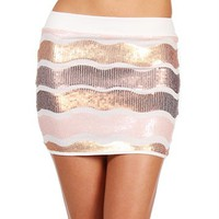 Wavy Sequin Mini Skirt