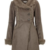 Linea Weekend Fur shearing coat Grey - House of Fraser