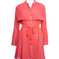 Coral Belted Chiffon Shirt Dress - Dresses - desireclothing.co.uk