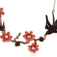 Vintage Carved Flower&Swallow Rhinestone Bib Necklace at Online Fashion Jewelry Store Gofavor